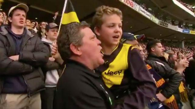 Curly and Nate at the Grand Final. Image: Ch7