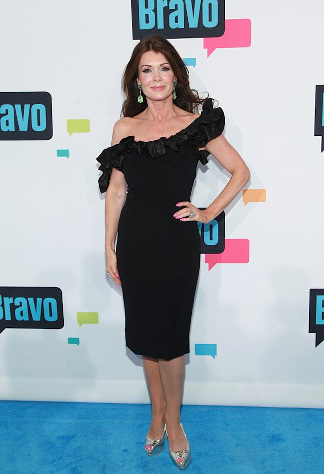 "NEW YORK, NY - APRIL 03:  TV personality Lisa Vanderpump of ""The Real Housewives of Beverly Hills"" attends the 2013 Bravo Upfront at Pillars 37 Studios on April 3, 2013 in New York City.  (Photo by Taylor Hill/FilmMagic)"