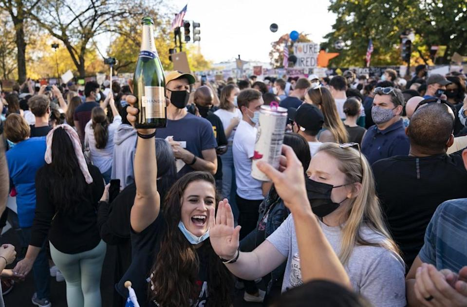 It seemed many were ready to toast an end to a tumultuous four years under President Donald Trump.