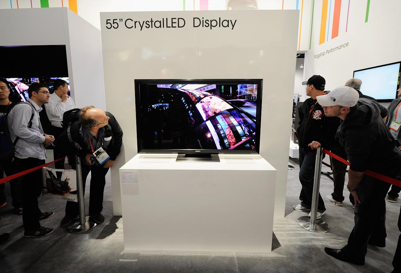 LAS VEGAS, NV - JANUARY 11:  A prototype Sony 55 inch Crystal LED Display is seen at the Sony booth during the 2012 International Consumer Electronics Show at the Las Vegas Convention Center on January 11, 2012 in Las Vegas, Nevada. CES, the world's largest annual consumer technology trade show, runs through January 13 and features more than 3,100 exhibitors showing off their latest products and services to about 140,000 attendees.  (Photo by Kevork Djansezian/Getty Images)