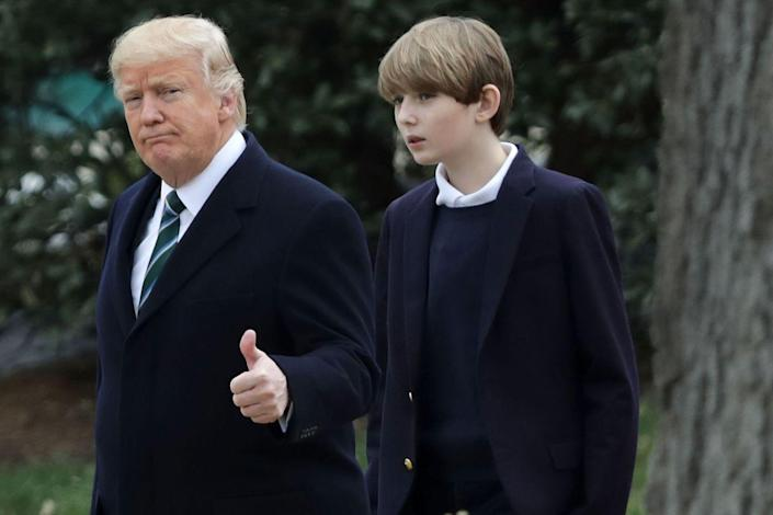 """<p>""""Barron loves to be one-on-one with Dad because normally he's almost always all the time with me,"""" She told <a rel=""""nofollow noopener"""" href=""""http://people.com/celebrity/donald-and-melania-trump-dont-use-nannies/"""" target=""""_blank"""" data-ylk=""""slk:PEOPLE"""" class=""""link rapid-noclick-resp"""">PEOPLE</a> in 2015. """"So I give them space when it's <a rel=""""nofollow noopener"""" href=""""https://www.redbookmag.com/life/a50711/melania-and-barron-trump-white-house-move/"""" target=""""_blank"""" data-ylk=""""slk:Daddy and Barron time"""" class=""""link rapid-noclick-resp"""">Daddy and Barron time</a>. They go alone for dinner, one-on-one. They play golf together. He looks forward to that.""""</p>"""