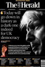 """SNP leader Nicola Sturgeon saying it was a """"dark day for UK democracy"""" was reflected by the black page on the front of The Herald. (Twitter)"""