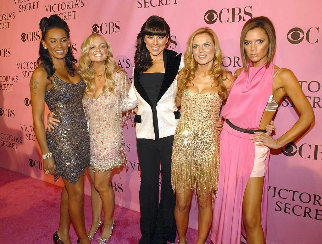"""The Spice Girls (Melanie Brown, Emma Bunton, Melanie Chisolm, Geri Halliwell, and Victoria Beckham) gear up for their first television performance since reuniting. Kevin Mazur/<a href=""""http://www.wireimage.com"""" target=""""new"""">WireImage.com</a> - November 15, 2007"""