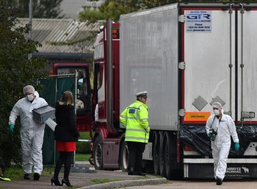 The dozens of corpses were found in a refrigerated truck container at an industrial park in Grays, east of London