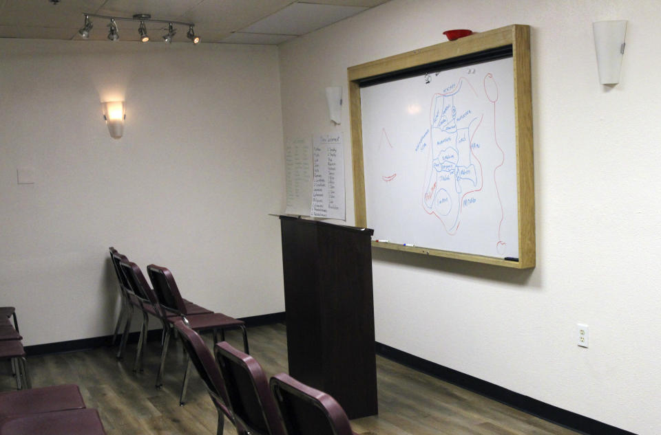 May 24, 2021, photo shows a youth ministry room inside the Open Door Baptist Church, which is located in a former strip club in Anchorage, Alaska. This room was formerly a private lap dance room. (AP Photo/Mark Thiessen)