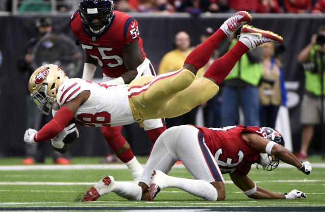 <p>Houston Texans running back Alfred Blue (28) is upended by Houston Texans cornerback Kevin Johnson (30) during the first half of an NFL football game Sunday, Dec. 10, 2017, in Houston. (AP Photo/Eric Christian Smith) </p>