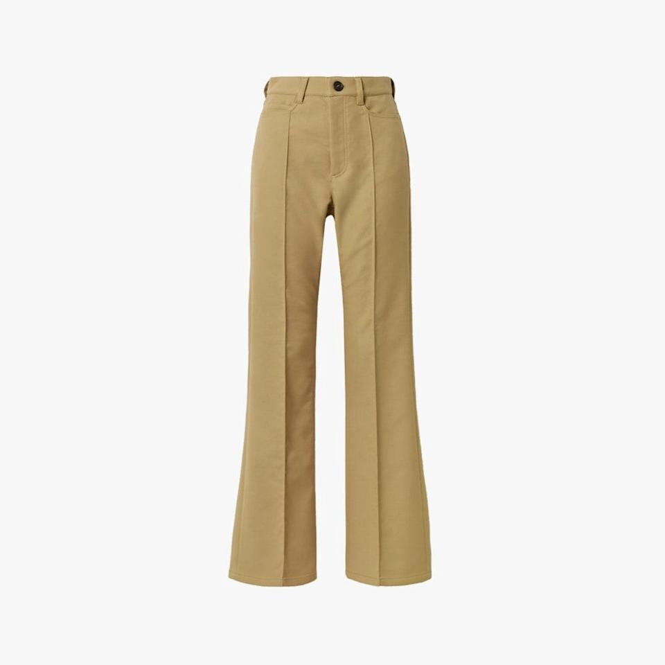 "$510, NET-A-PORTER. <a href=""https://www.net-a-porter.com/en-us/shop/product/meryll-rogge/twill-flared-pants/1291959"" rel=""nofollow noopener"" target=""_blank"" data-ylk=""slk:Get it now!"" class=""link rapid-noclick-resp"">Get it now!</a>"