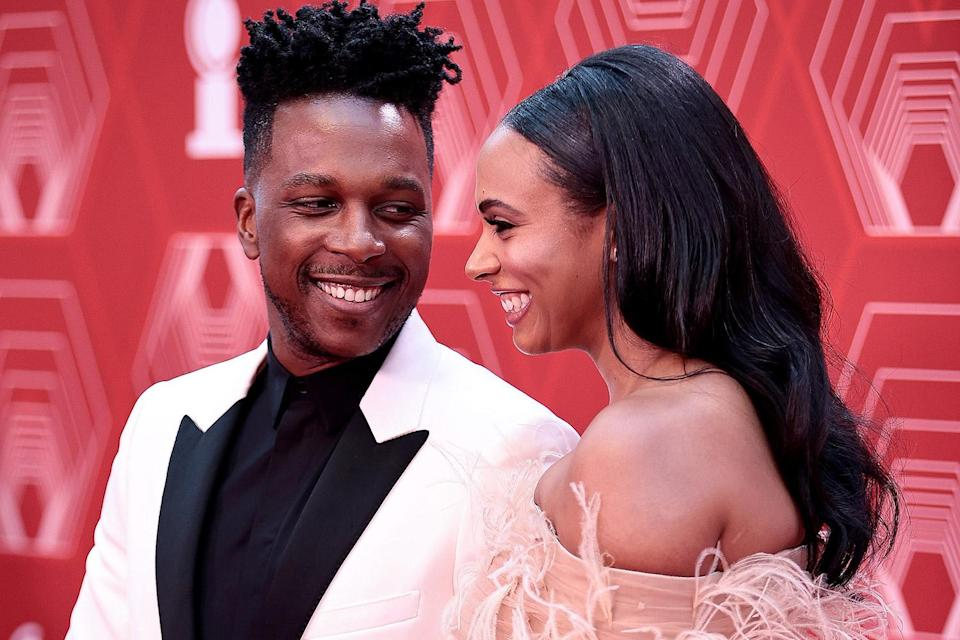 <p>Odom Jr., walks the red carpet with his wife, Nicolette Robinson. </p>