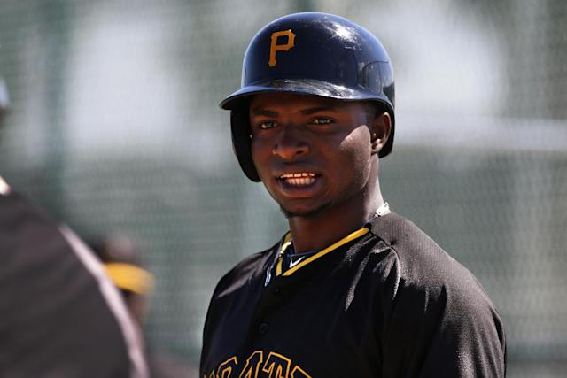 Pittsburgh Pirates' Gregory Polanco waits his turn to hit against live pitching during the team's baseball spring training workout in Bradenton, Fla., Thursday, Feb. 20, 2014. (AP Photo/Gene J. Puskar)