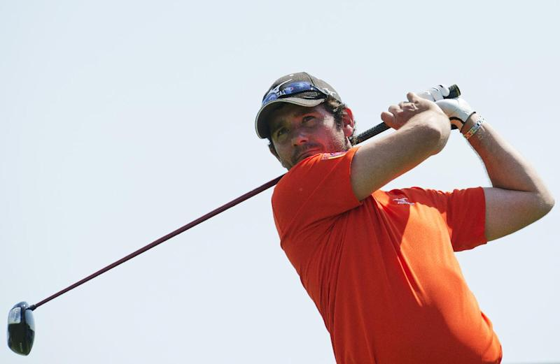 Scotland's Peter Whiteford tees off at the Bro Hof Slott golf club near Stockholm, on May 31, 2013