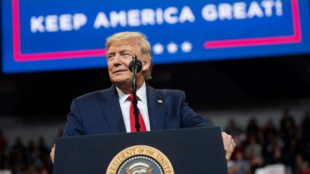 PHOTO: President Donald Trump speaks during a 'Keep America Great' campaign rally at Drake University in Des Moines, Iowa, Jan. 30, 2020. (Saul Loeb/AFP via Getty Images)