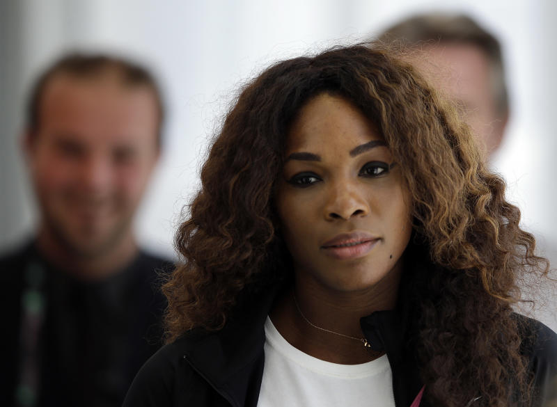 Serena Williams, of the United States, meets the media during the Rome's tennis master tournament, Monday, May 13, 2013. (AP Photo/Gregorio Borgia)