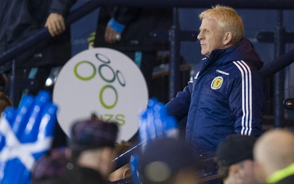 Scotland manager Gordon Strachan walks from the dugout after winning 1-0 in the 2018 Fifa World Cup Russia Qualifier - Credit: Rex