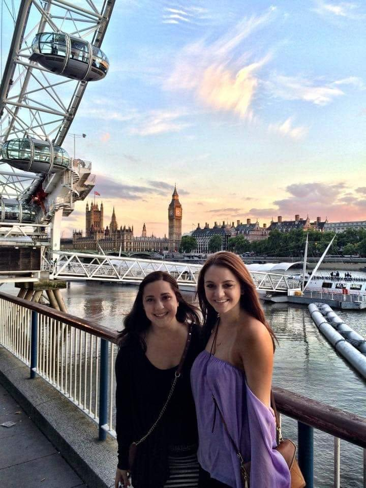 Maggie Fitzsimmons, right, with a friend near the London Eye and Big Ben in 2015.