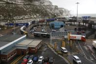 FILE PHOTO: Freight trucks move through the terminal at the Port of Dover