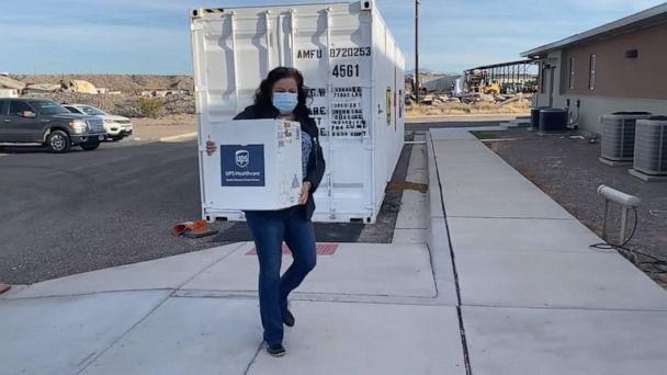 PHOTO: Linda Molinar, CEO of Preventative Care Health Services, which runs three clinics in rural Texas, arrives in Presidio, Texas, with a cooler full of vaccines. (Courtesy Linda Molinar)