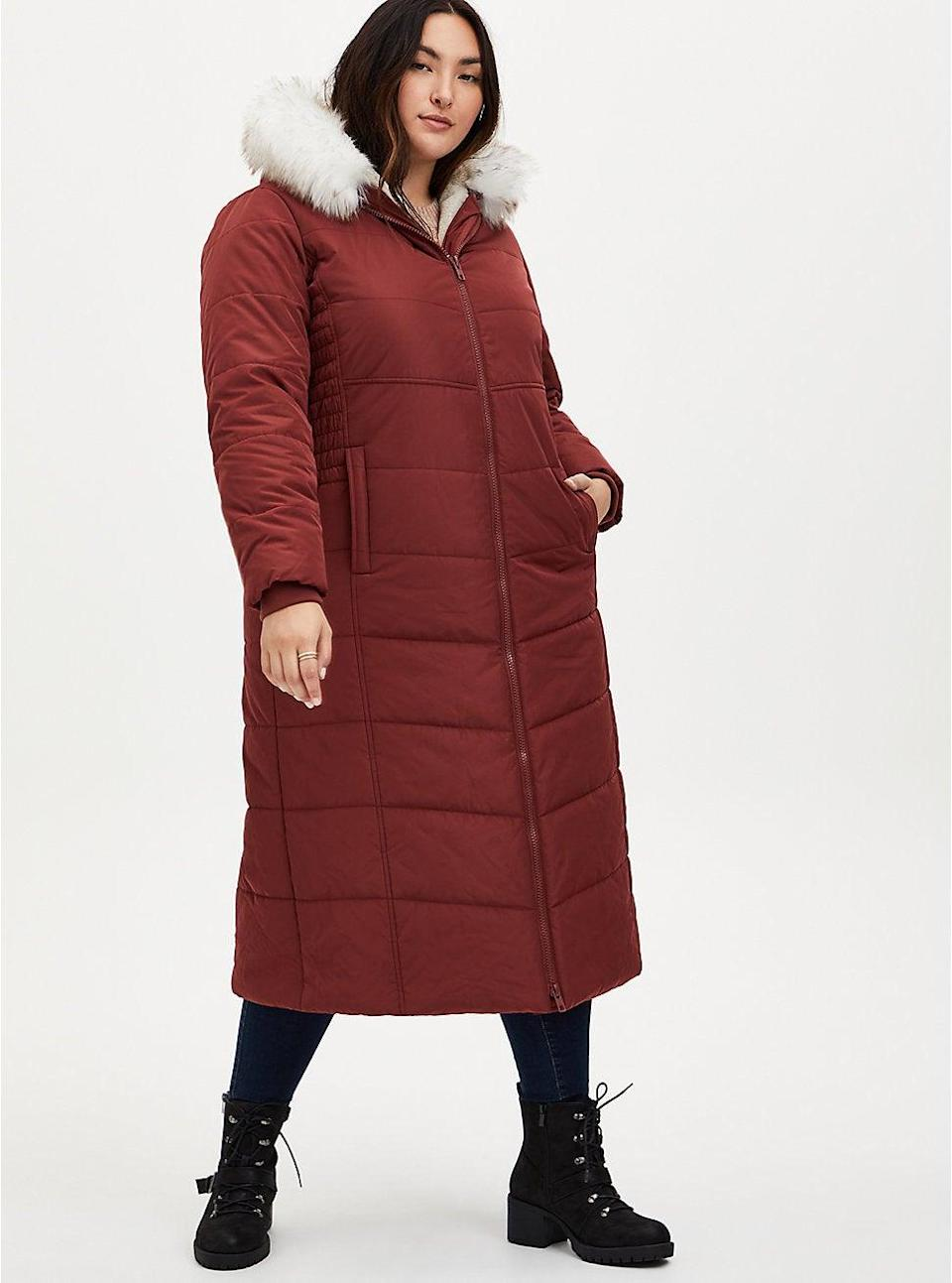 "<br><br><strong>Torrid</strong> Brick Red Fit & Flare Maxi Puffer Coat, $, available at <a href=""https://go.skimresources.com/?id=30283X879131&url=https%3A%2F%2Fwww.torrid.com%2Fproduct%2Fbrick-red-fit-flare-maxi-puffer-coat-%2F13789817.html"" rel=""nofollow noopener"" target=""_blank"" data-ylk=""slk:Torrid"" class=""link rapid-noclick-resp"">Torrid</a>"