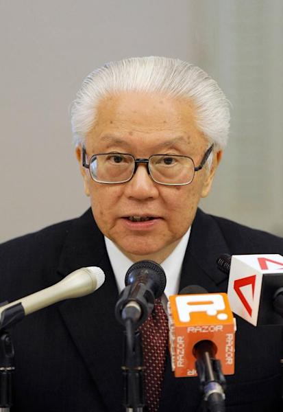 This file photo shows Singapore President Tony Tan speaking to the media during a press conference on August 28, 2011
