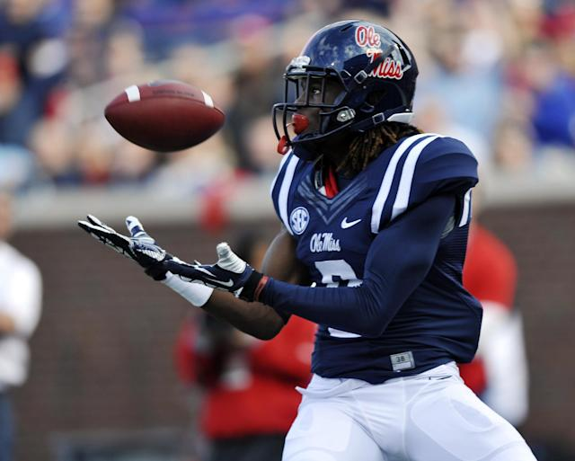 Mississippi wide receiver Terrell Grant (8) makes a touchdown catch against Troy during an NCAA college football game in Oxford, Miss., Saturday, Nov. 16, 2013. Troy recovered the ball. (AP Photo/Oxford Eagle, Bruce Newman)