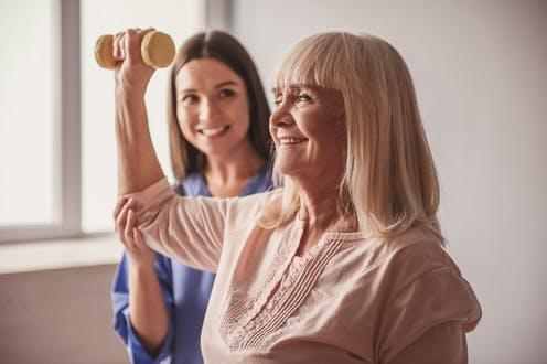 """<span class=""""caption"""">Exercise programmes lasting between one and four weeks were shown to benefit patients.</span> <span class=""""attribution""""><a class=""""link rapid-noclick-resp"""" href=""""https://www.shutterstock.com/image-photo/beautiful-old-lady-doing-exercises-dumbbells-1099254302"""" rel=""""nofollow noopener"""" target=""""_blank"""" data-ylk=""""slk:George Rudy/ Shutterstock"""">George Rudy/ Shutterstock</a></span>"""