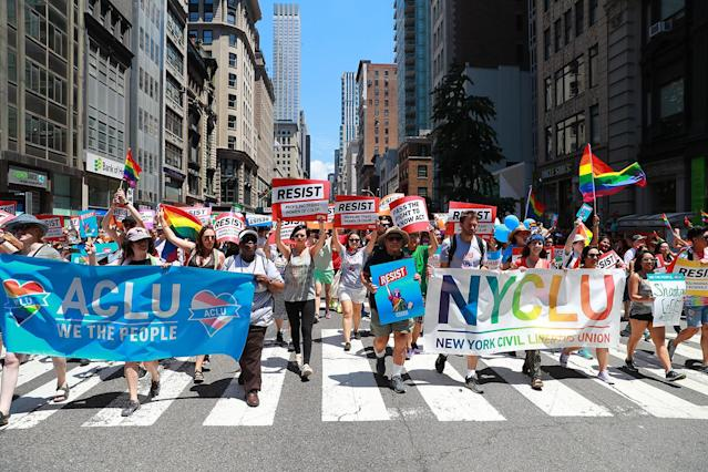 <p>Members of the ACLU and NYCLU march in the N.Y.C. Pride Parade in New York on June 25, 2017. (Photo: Gordon Donovan/Yahoo News) </p>