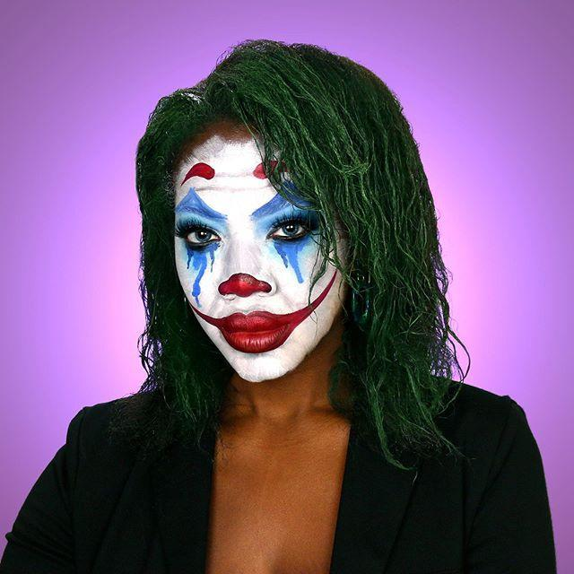 """<p>When it comes to the Joker, you've got plenty of options to go with, but for this Arthur Fleck version of a clown makeup, <strong>you need blue diamonds around your eyes with tears</strong>, a red nose, and of course, green hair. Use <a href=""""https://www.cosmopolitan.com/style-beauty/beauty/advice/g2788/temporary-hair-color/"""" rel=""""nofollow noopener"""" target=""""_blank"""" data-ylk=""""slk:temporary dye"""" class=""""link rapid-noclick-resp"""">temporary dye</a> to get the hair look and <a href=""""https://www.amazon.com/Mehron-Paradise-Paint-Palettes-Colors/dp/B00886JONC?tag=syn-yahoo-20&ascsubtag=%5Bartid%7C10049.g.33247158%5Bsrc%7Cyahoo-us"""" rel=""""nofollow noopener"""" target=""""_blank"""" data-ylk=""""slk:face paint"""" class=""""link rapid-noclick-resp"""">face paint</a> for the rest.</p><p><a href=""""https://www.instagram.com/p/B4Qp3iAJb8b/?utm_source=ig_embed&utm_campaign=loading"""" rel=""""nofollow noopener"""" target=""""_blank"""" data-ylk=""""slk:See the original post on Instagram"""" class=""""link rapid-noclick-resp"""">See the original post on Instagram</a></p>"""