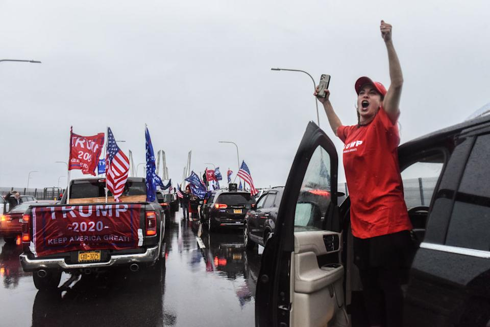 """Trump supporters coordinated large caravans across the country dubbed """"Maga drag""""."""