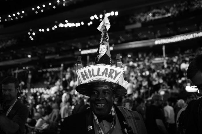 <p>Edgar Phillips, delegate from US Virgin Islands, shows his support of Hillary Clinton with a homemade hat at the DNC in Philadelphia, PA. on July 28, 2016. (Photo: Khue Bui for Yahoo News) </p>