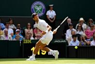 Novak Djokovic of Serbia plays a shot in his Men's Singles first round match against Philipp Kohlschreiber of Germany during Day one of The Championships - Wimbledon 2019 at All England Lawn Tennis and Croquet Club on July 01, 2019 in London, England. (Photo by Shaun Botterill/Getty Images)