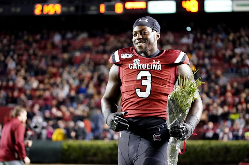 South Carolina DT Javon Kinlaw has emerged from homelessness to become a first-round draft prospect. (Photo by Jacob Kupferman/Getty Images)