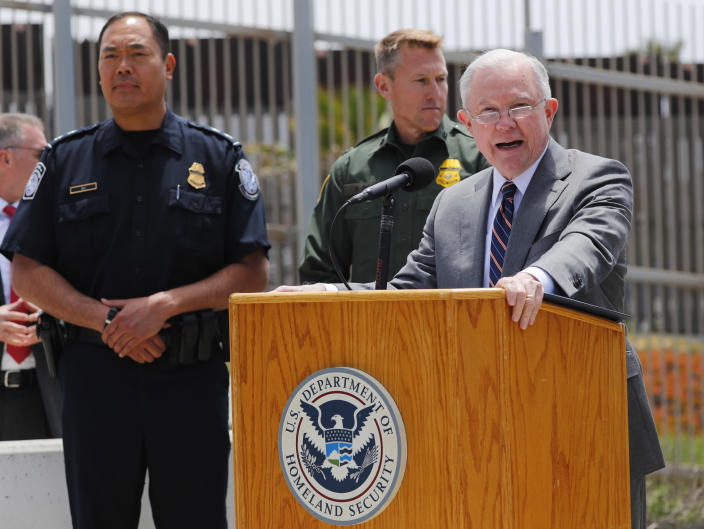 U.S. Attorney General Jeff Sessions speaks during a visit to the U.S.-Mexico border wall. (Photo: Mike Blake/Reuters)
