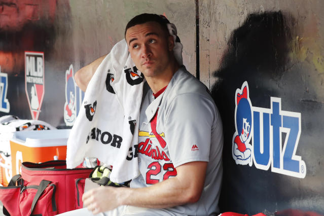 St. Louis Cardinals starting pitcher Jack Flaherty sits in the dugout in the eighth inning during Game 2 of a best-of-five National League Division Series against the Atlanta Braves, Friday, Oct. 4, 2019, in Atlanta. (AP Photo/John Bazemore)