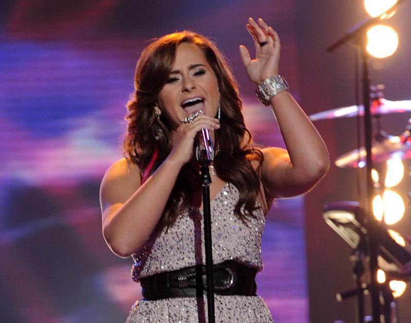 """FILE - In this April 25, 2012 file photo released by Fox, contestant Skylar Laine performs on the singing competition series """"American Idol,"""" in Los Angeles. It was revealed Thursday, May, 3, 2012 on the Fox singing contest that the 18-year-old country rocker from Brandon, Miss., received the fewest viewer votes, leaving four finalists in the competition. (AP Photo/Fox, Michael Becker, File)"""