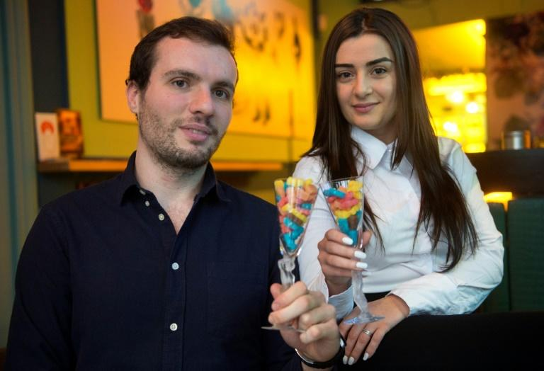 Osito & Co co-founders engineer Julen Justa (L) 25, and Tamar Gigolashvili, a 24-year-old law and management graduate