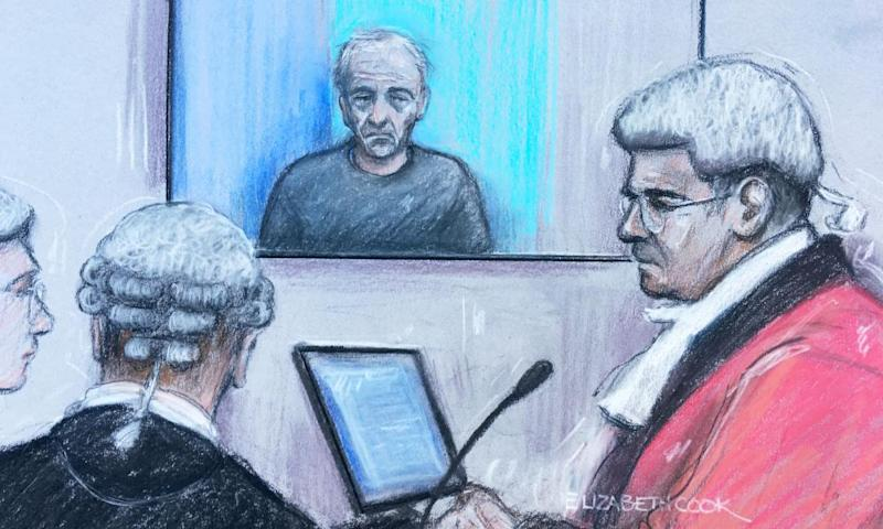 Court artist sketch of Barry Bennell appearing via videolink at Liverpool crown court.