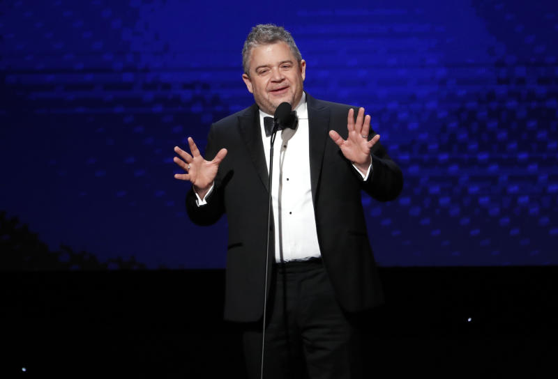 "Patton Oswalt performs stand-up in his front yard to offer ""hope and humor"" to his neighbors."