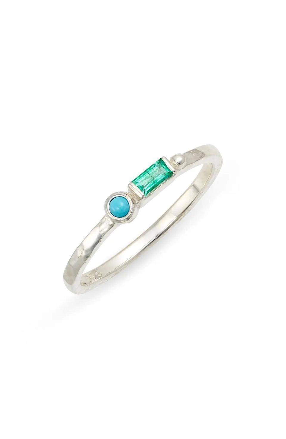 """<h2>December: Turquoise<br></h2><br><strong>The Signs: Sagittarius & Capricorn<br></strong><br>""""Turquoise was one of the first gemstones ever mined,"""" writes Oldershaw, """"perhaps dating back to 6,000 BC in Egypt's Sinai peninsula."""" (Eyes on the long game? Reminds us of a goal-oriented Capricorn.) It also has a host of unique properties that make it unlike any other gemstone, including its unusual opacity, vein-like inclusions, and singular robin's egg-blue hue. (Reminds us of a Sagittarius' bold, easy-to-identify personality.) <br><br><strong>Anzie</strong> Cleo Emerald & Turquoise Ring, $, available at <a href=""""https://go.skimresources.com/?id=30283X879131&url=https%3A%2F%2Fwww.nordstrom.com%2Fs%2Fanzie-cleo-emerald-turquoise-ring%2F5565847"""" rel=""""nofollow noopener"""" target=""""_blank"""" data-ylk=""""slk:Nordstrom"""" class=""""link rapid-noclick-resp"""">Nordstrom</a>"""