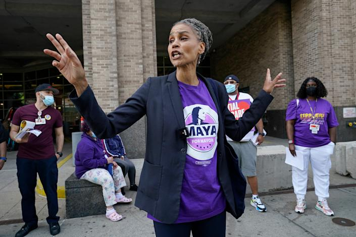 New York City mayoral candidate Maya Wiley visits health care workers at New York-Presbyterian Morgan Stanley Children's Hospital on May 20.
