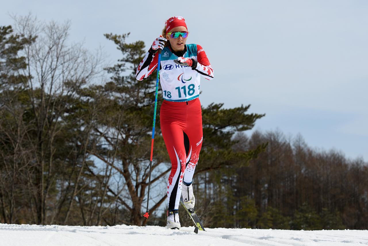 Natalie Wilkie of Canada competes during the Cross Country Skiing Women's Standing 7.5km Classic at the Alpensia Biathlon Centre. The Paralympic Winter Games, PyeongChang, South Korea, Saturday 17th March 2018. OIS/IOC/Thomas Lovelock/Handout via Reuters