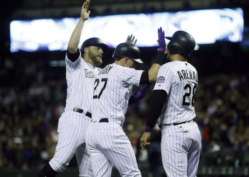 The Rockies are off Thursday, but could still inch closer to a playoff spot. (AP Photo/David Zalubowski)