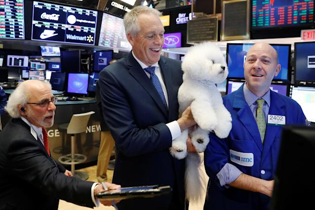 Flynn, a bichon frise and winner of Best In Show at the 142nd Westminster Kennel Club Dog Show, poses with handler Bill McFadden during a visit to the New York Stock Exchange in New York, U.S., February 16, 2018. REUTERS/Lucas Jackson
