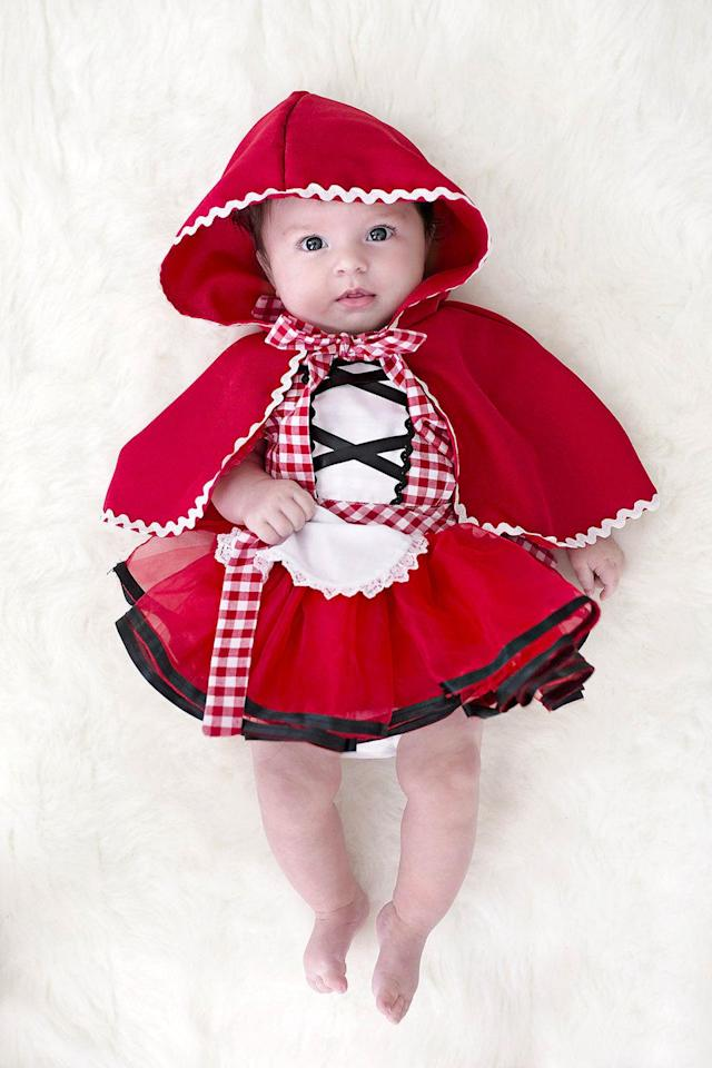 "<p>$26</p><p><a rel=""nofollow"" href=""https://www.etsy.com/listing/537565822/red-riding-hood-costume-baby-red-riding"">SHOP NOW</a></p><p>The hood on this elaborate costume <em>kills </em>us. If you really want to impress the neighbors, dress her older sibling up as a wolf.<em></em></p>"
