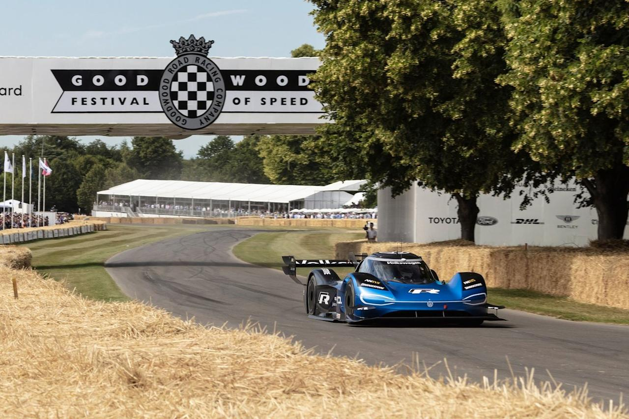 "<p>Volkswagen's all-electric ID. R race car has been breaking records left and right, having <a href=""https://www.caranddriver.com/news/a27698118/volkswagen-i-d-r-nurburgring/"" target=""_blank"">smashed the Nürburgring electric-vehicle record</a> last month, and this year at Goodwood it set another one. With Romain Dumas behind the wheel, it first broke the record set in 1999 in a McLaren F1 car with a 41.18-second run and then later beat its own record with a wild 39.9-second run later in the day. Its official time in the shootout on Sunday, however, was a slightly slower 42.32 seconds (the track was a bit damp), meaning the official record from 1999 still technically stands.</p>"