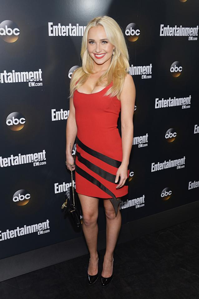 "Hayden Panettiere showed off her naughty side in a body-hugging Moschino number, red lips, and platinum locks as she strutted down the red carpet at the Entertainment Weekly and ABC Upfront VIP Party on Tuesday. The 22-year-old actress attended the event to promote the new drama ""Nashville,"" where she'll be playing a young upstart country star fighting for the spotlight against an older singer (Connie Britton) à la ""Country Strong."" The trailer for ""Nashville"" shows Panettiere's character as a sexpot stunner who isn't afraid to scheme and flirt her way to the top. Looks like the cleavage-baring minidress the petite blonde rocked at the event reflects the devilish character she'll be portraying with its black devil's tail wrapped around the bottom with the tip hanging off the dress' edge. Va-va-voom!"