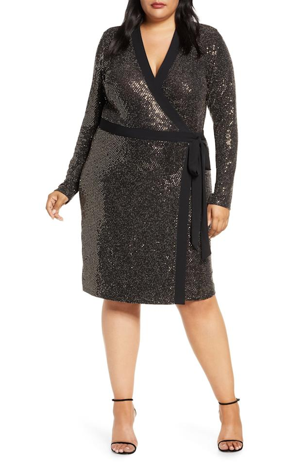"""<p>This <a href=""""https://www.popsugar.com/buy/Leota-Kara-Sequin-Long-Sleeve-Faux-Wrap-Dress-510494?p_name=Leota%20Kara%20Sequin%20Long-Sleeve%20Faux%20Wrap%20Dress&retailer=shop.nordstrom.com&pid=510494&price=138&evar1=fab%3Aus&evar9=45293652&evar98=https%3A%2F%2Fwww.popsugar.com%2Ffashion%2Fphoto-gallery%2F45293652%2Fimage%2F46841039%2FLeota-Kara-Sequin-Long-Sleeve-Faux-Wrap-Dress&list1=shopping%2Cfall%20fashion%2Cdresses%2Cparty%20dresses&prop13=mobile&pdata=1"""" rel=""""nofollow"""" data-shoppable-link=""""1"""" target=""""_blank"""" class=""""ga-track"""" data-ga-category=""""Related"""" data-ga-label=""""https://shop.nordstrom.com/s/leota-kara-sequin-long-sleeve-faux-wrap-dress-plus-size/5426016?origin=category-personalizedsort&amp;breadcrumb=Home%2FWomen%2FClothing%2FDresses&amp;color=gold%20sequin"""" data-ga-action=""""In-Line Links"""">Leota Kara Sequin Long-Sleeve Faux Wrap Dress</a> ($138) is perfect for any party.</p>"""