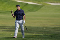 Bryson DeChambeau watches his shot from the 18th fairway during the third round of the U.S. Open Golf Championship, Saturday, June 19, 2021, at Torrey Pines Golf Course in San Diego. (AP Photo/Marcio Jose Sanchez)