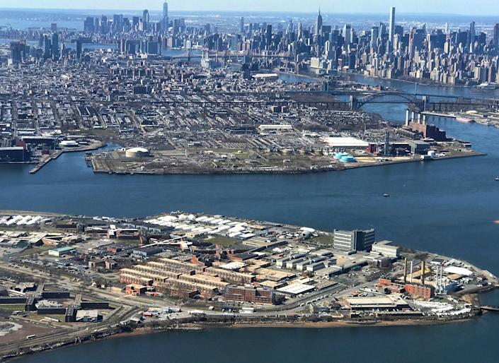 The Rikers Island Prison complex (foreground) is seen from an airplane in the Queens borough of New York City: REUTERS