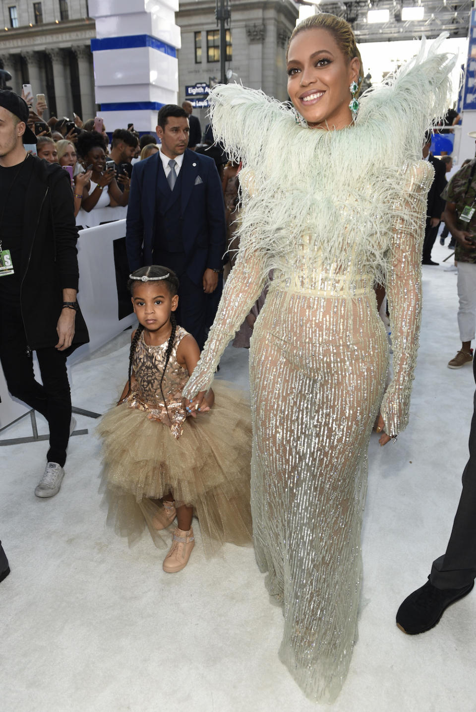 Blue Ivy and Beyonce on the white carpet at the VMAs.