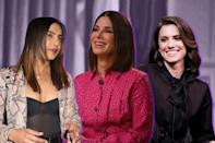 <p>Priyanka Chopra, Sandra Bullock and Allison Williams are wearing this season's hottest hue for dark-haired stars. (Photo: Getty Images) </p>