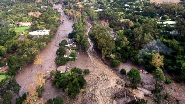 PHOTO: Aerial view of Montecito, Calif., where mud and debris covers roads, homes and everything in it's path following heavy rains, Jan. 9, 2018. (VCAirUnit/Twitter)